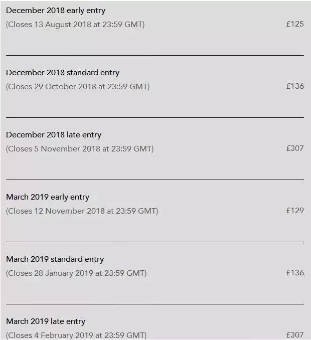 2018/12月和2019/3月ACCA考试费用均有调整!